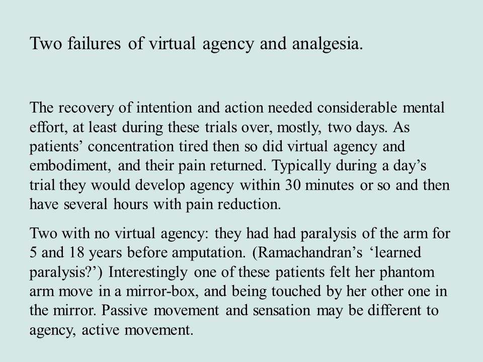 Two failures of virtual agency and analgesia.