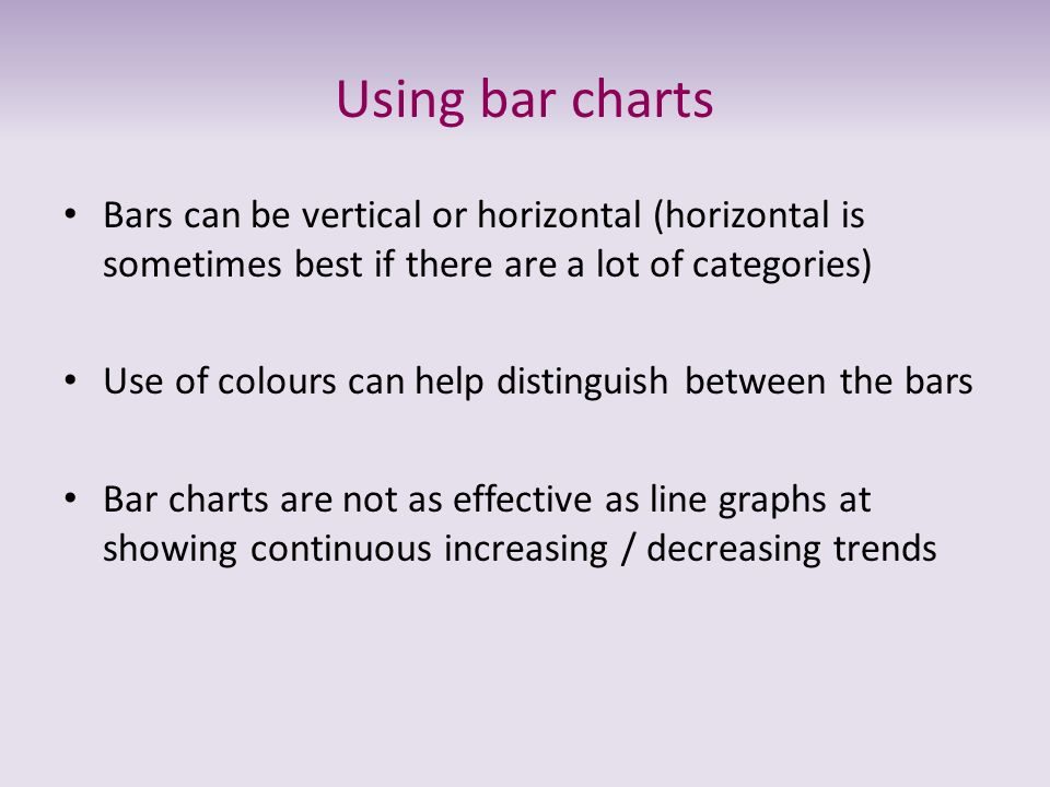 Using bar charts Bars can be vertical or horizontal (horizontal is sometimes best if there are a lot of categories)