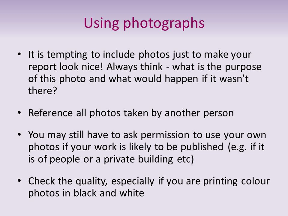 Using photographs
