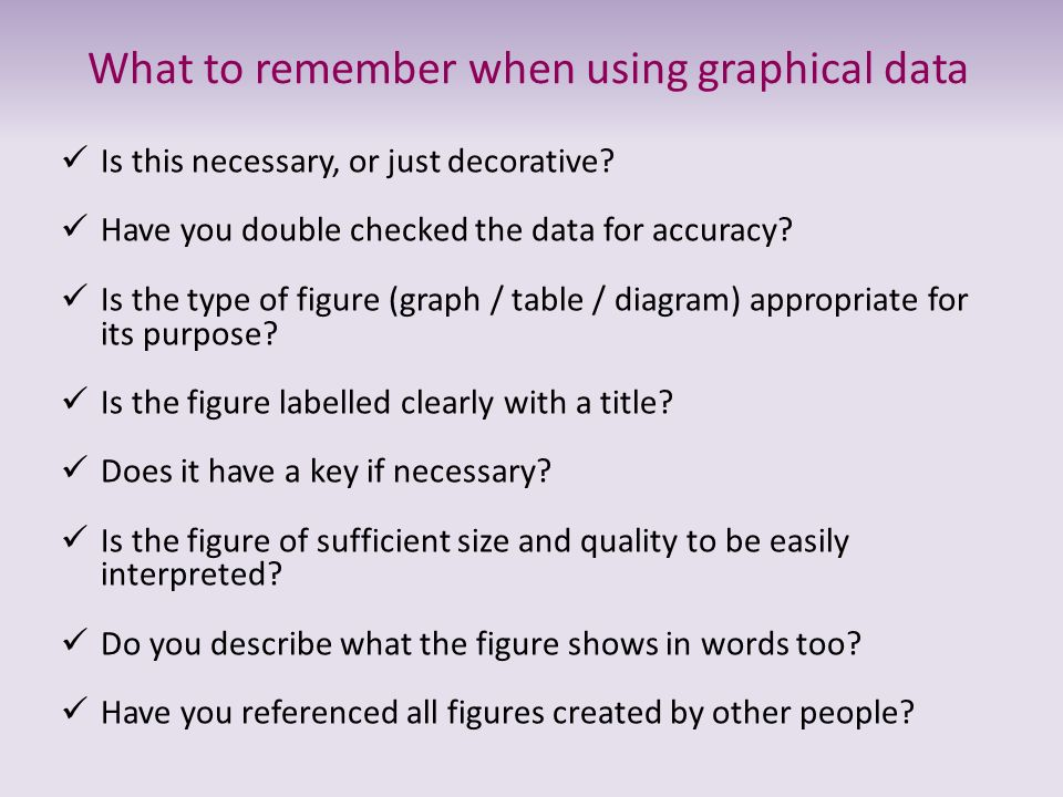 What to remember when using graphical data