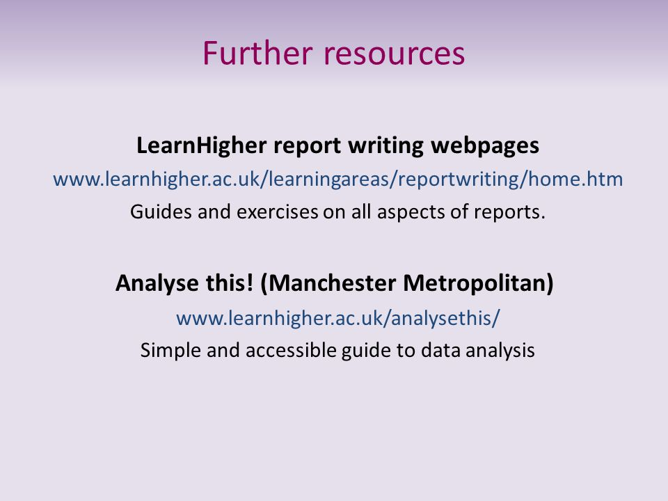 LearnHigher report writing webpages