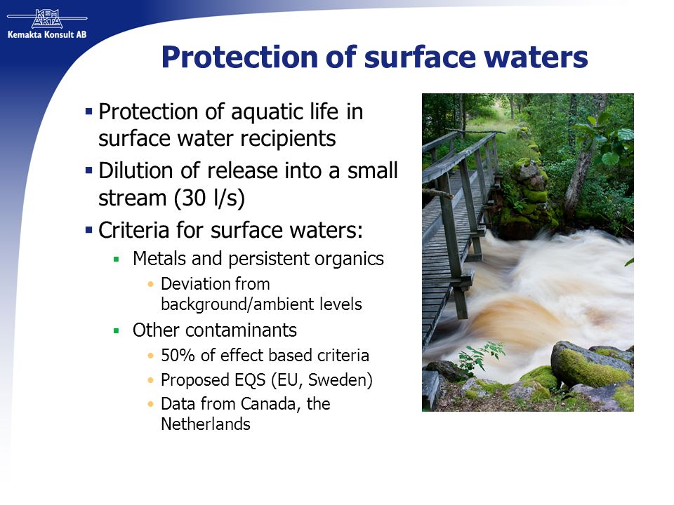Protection of surface waters