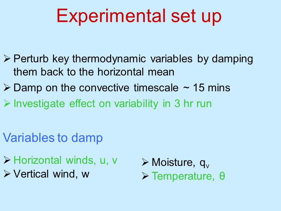 Experimental set up Variables to damp