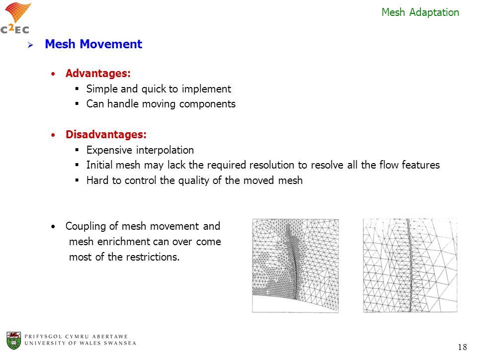 Mesh Movement Mesh Adaptation Advantages: