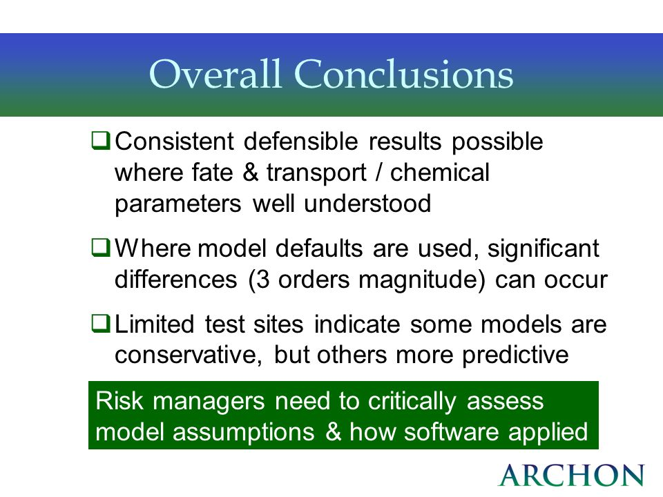 Overall ConclusionsConsistent defensible results possible where fate & transport / chemical parameters well understood.
