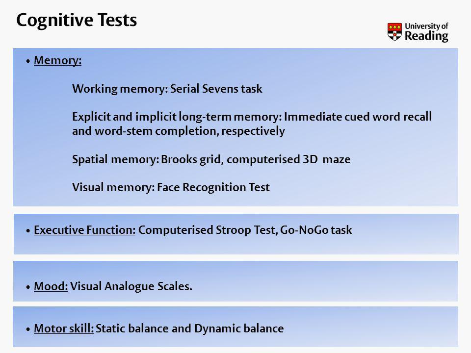 Cognitive Tests Memory: Working memory: Serial Sevens task