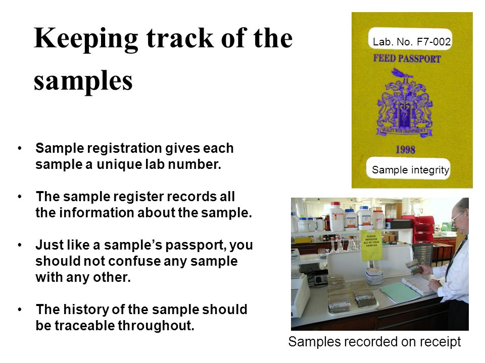 Keeping track of the samples