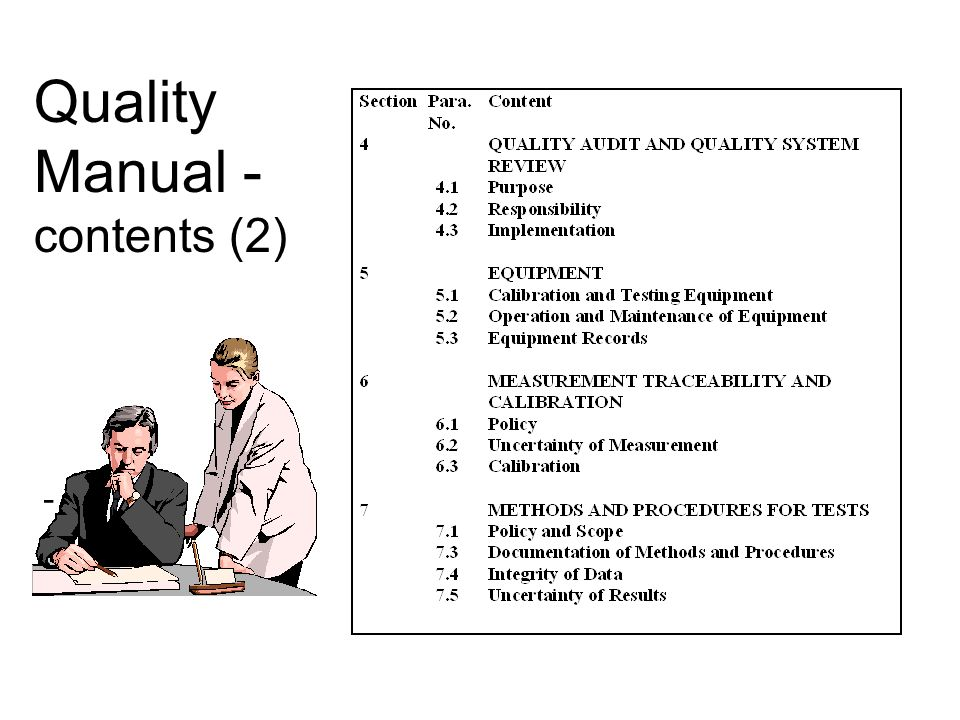 Quality Manual - contents (2) -