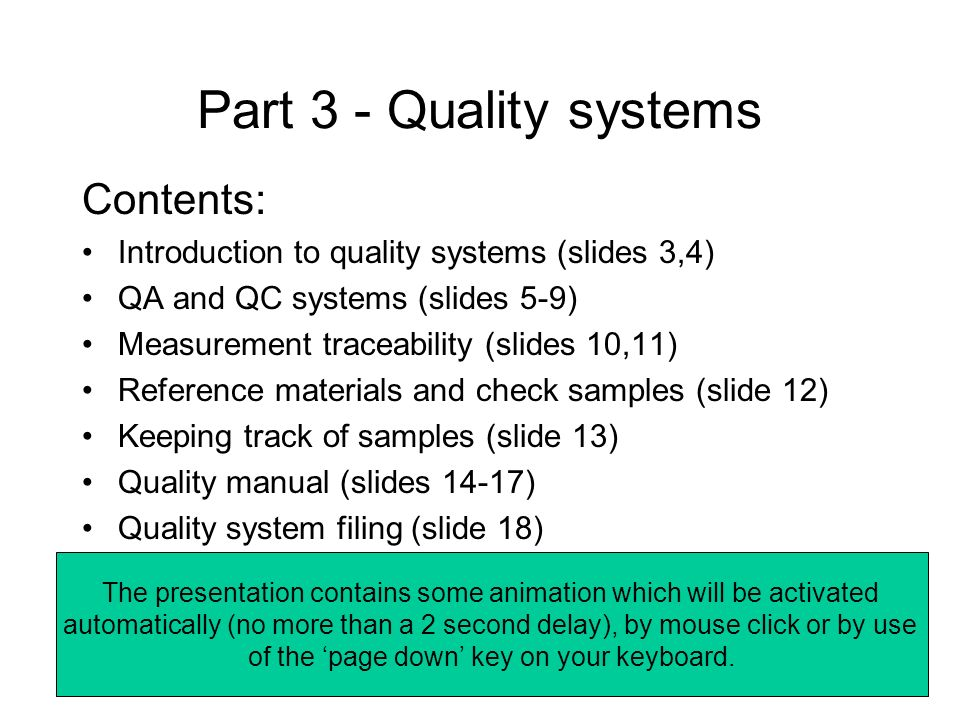 Part 3 - Quality systems Contents: