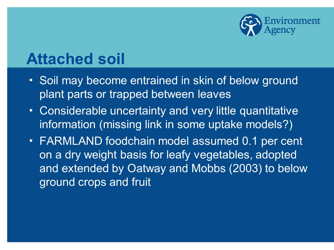 Attached soil Soil may become entrained in skin of below ground plant parts or trapped between leaves.