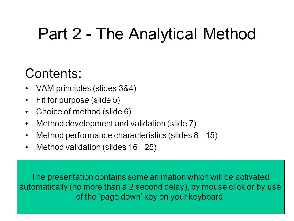 Part 2 - The Analytical Method