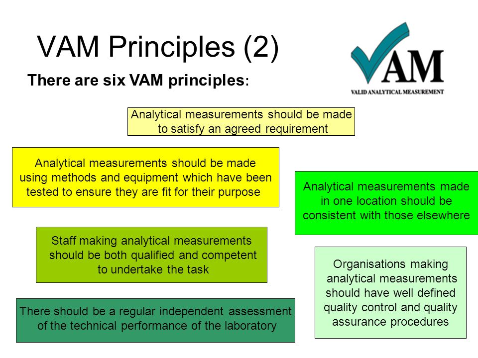 VAM Principles (2) There are six VAM principles: