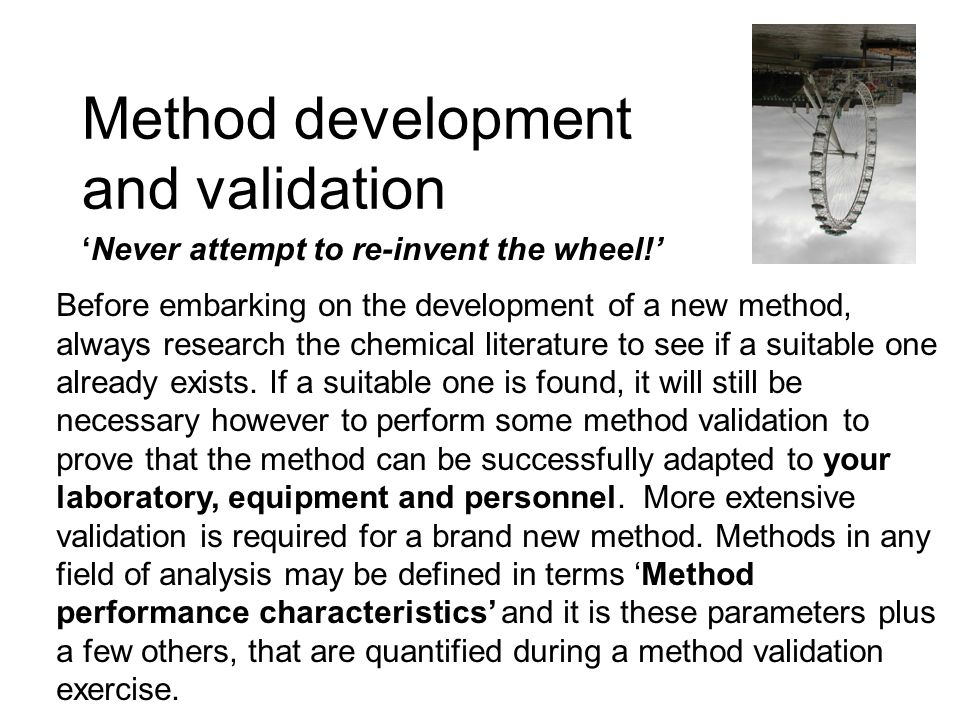 Method development and validation