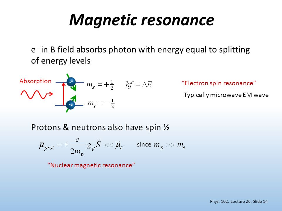 Magnetic resonance e– in B field absorbs photon with energy equal to splitting of energy levels. –