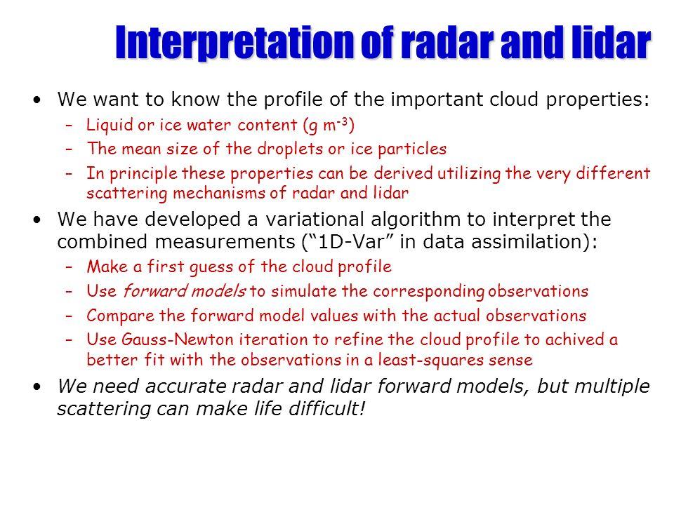 Interpretation of radar and lidar