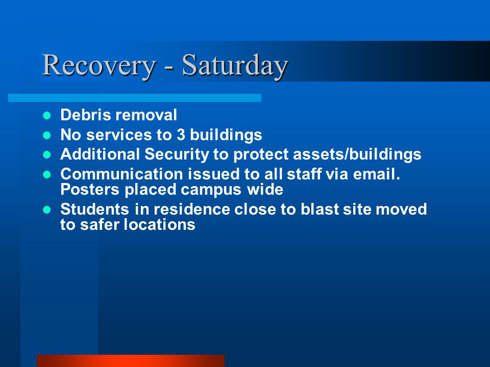 Recovery - Saturday Debris removal No services to 3 buildings
