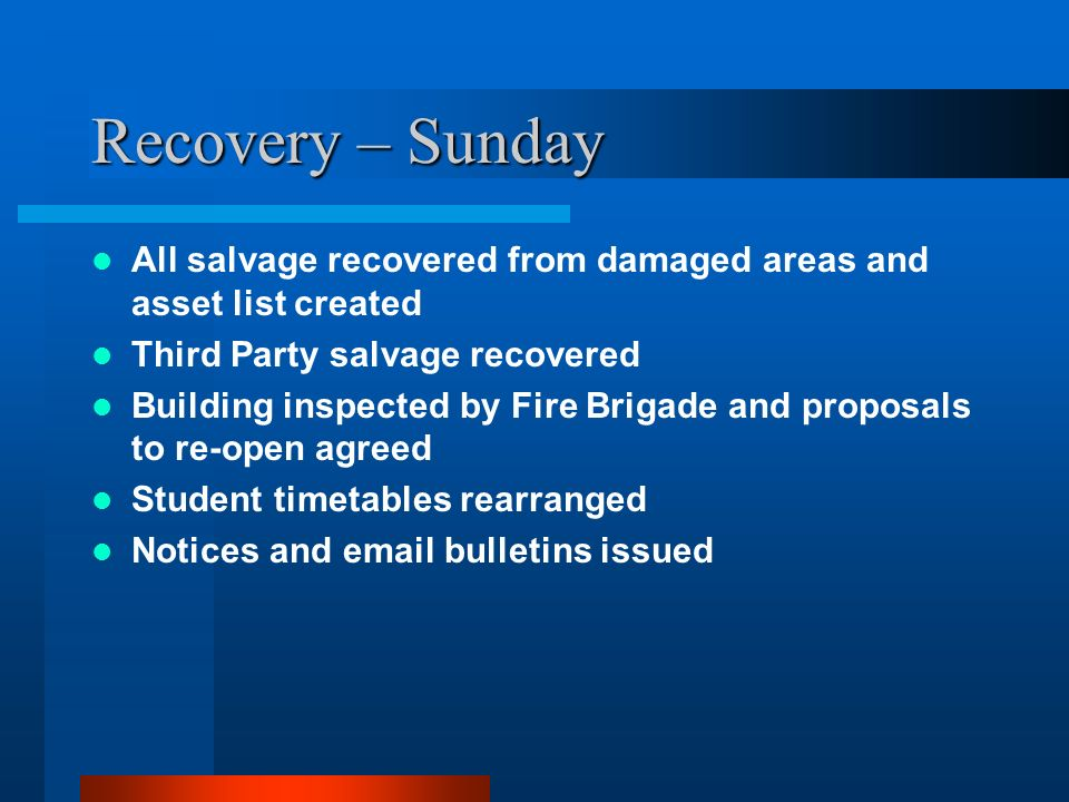 Recovery – Sunday All salvage recovered from damaged areas and asset list created. Third Party salvage recovered.