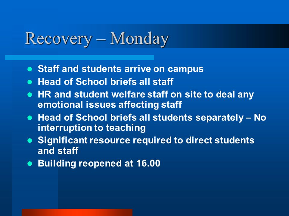 Recovery – Monday Staff and students arrive on campus