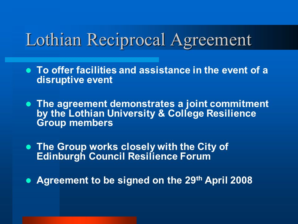 Lothian Reciprocal Agreement