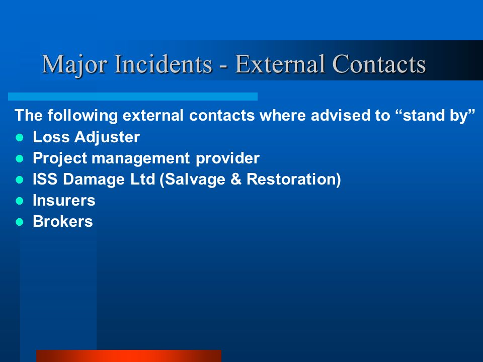 Major Incidents - External Contacts