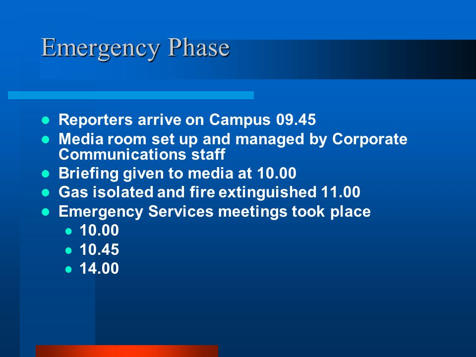 Emergency Phase Reporters arrive on Campus 09.45