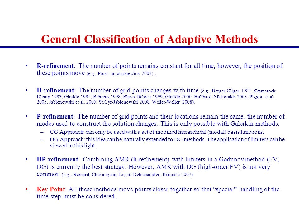 General Classification of Adaptive Methods