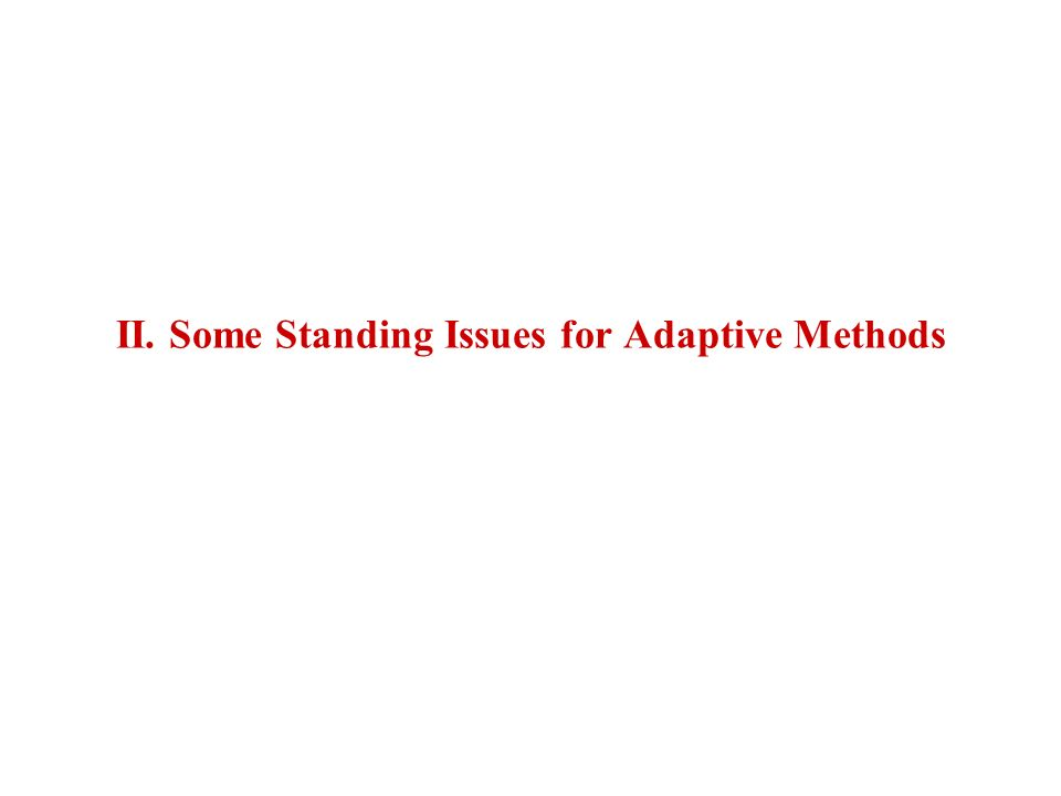 II. Some Standing Issues for Adaptive Methods