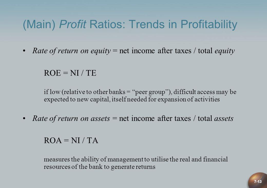 (Main) Profit Ratios: Trends in Profitability