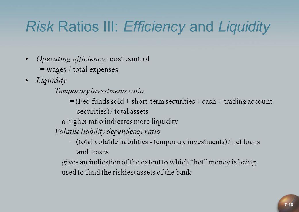 Risk Ratios III: Efficiency and Liquidity
