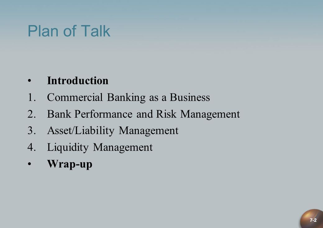 Plan of Talk Introduction Commercial Banking as a Business