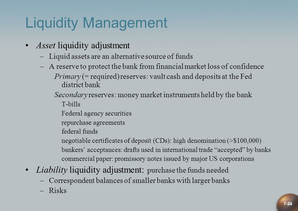 liquidity management in banks Banks, liquidity management and monetary policy javier bianchi federal reserve bank of minneapolis and nber saki bigio ucla and nber september 26, 2017.