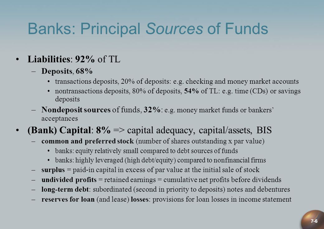 Banks: Principal Sources of Funds