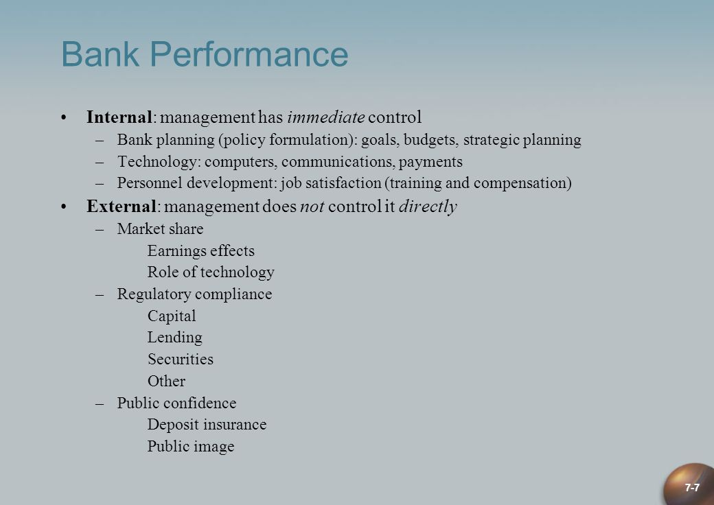 Bank Performance Internal: management has immediate control