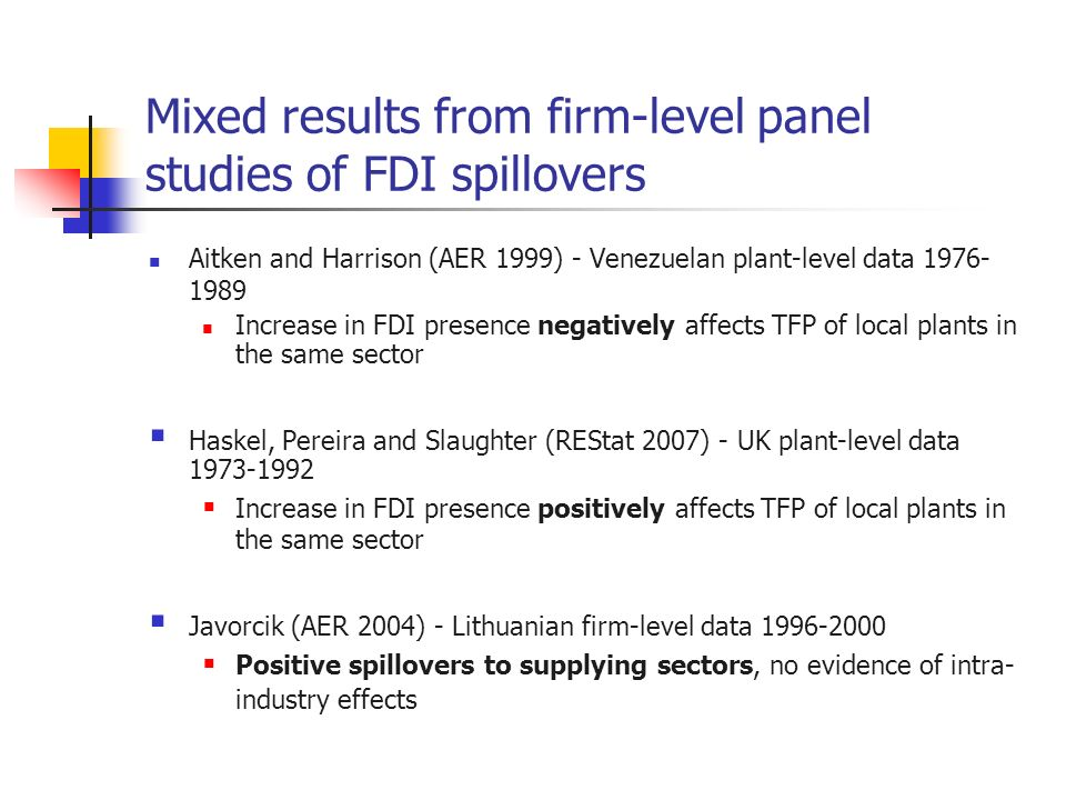 Mixed results from firm-level panel studies of FDI spillovers