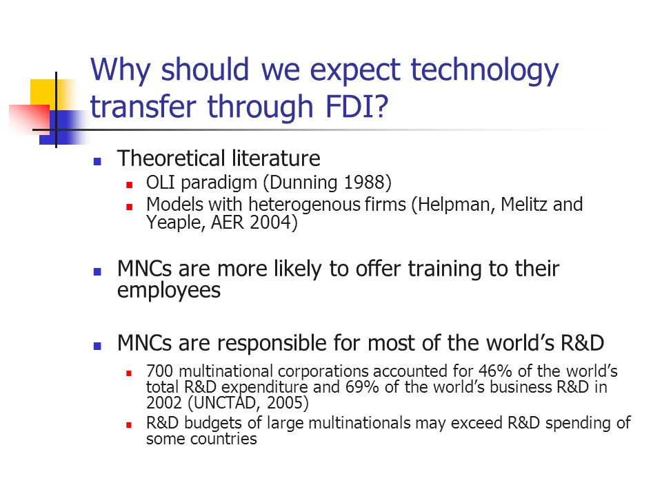 Why should we expect technology transfer through FDI