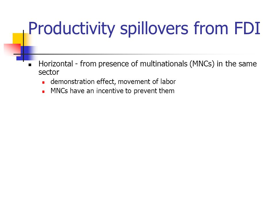 Productivity spillovers from FDI