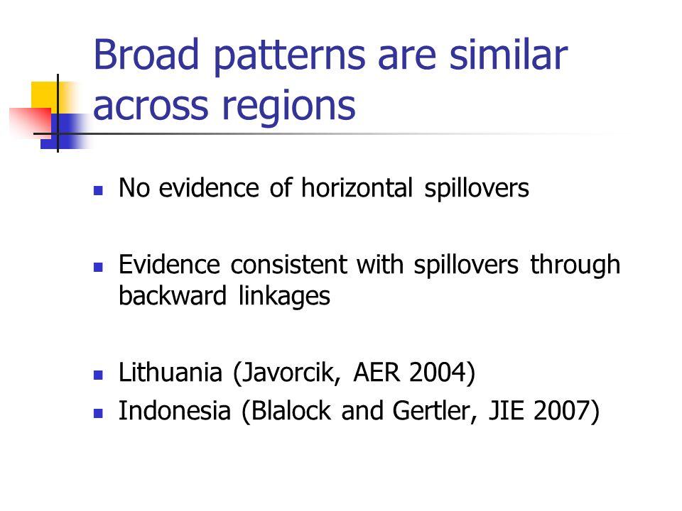 Broad patterns are similar across regions