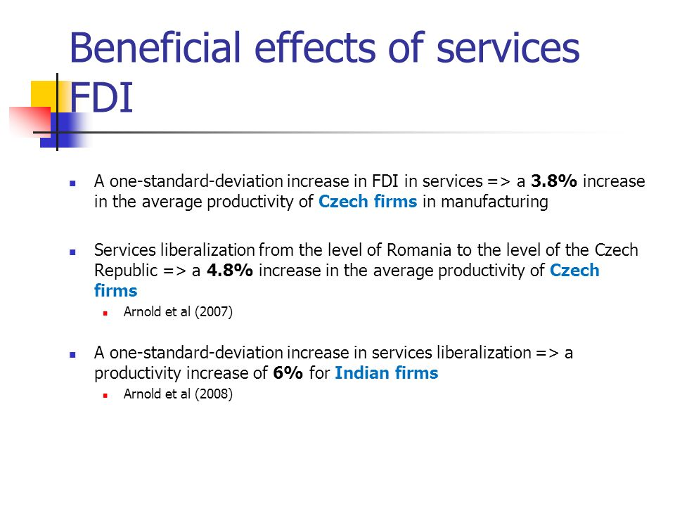 Beneficial effects of services FDI