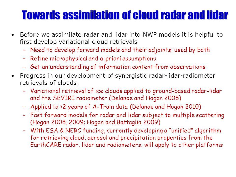 Towards assimilation of cloud radar and lidar