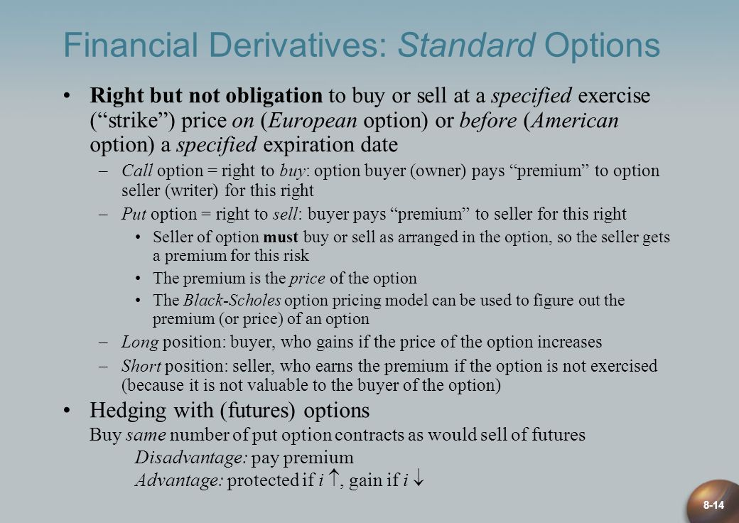 Financial Derivatives: Standard Options