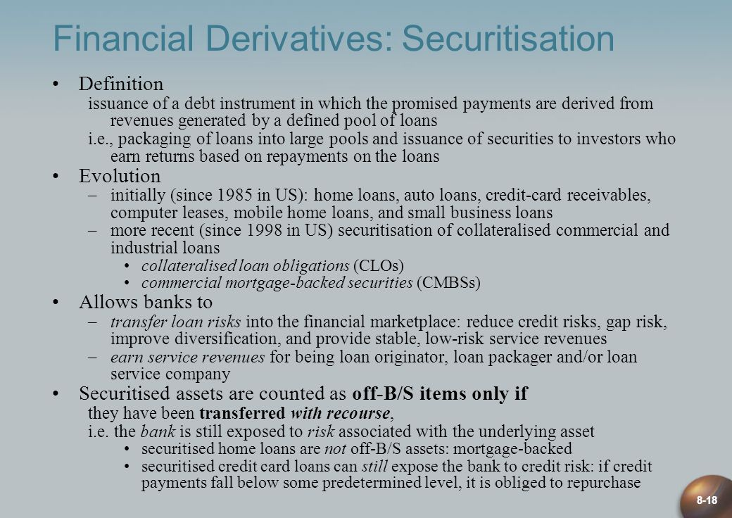 Financial Derivatives: Securitisation