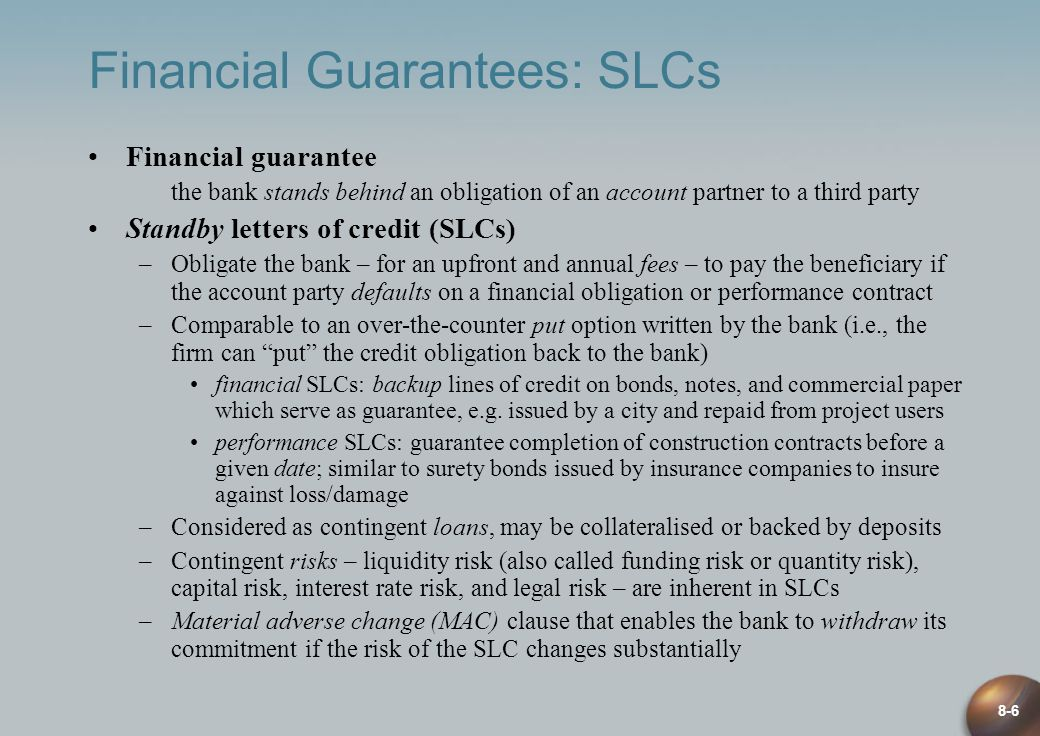 Financial Guarantees: SLCs