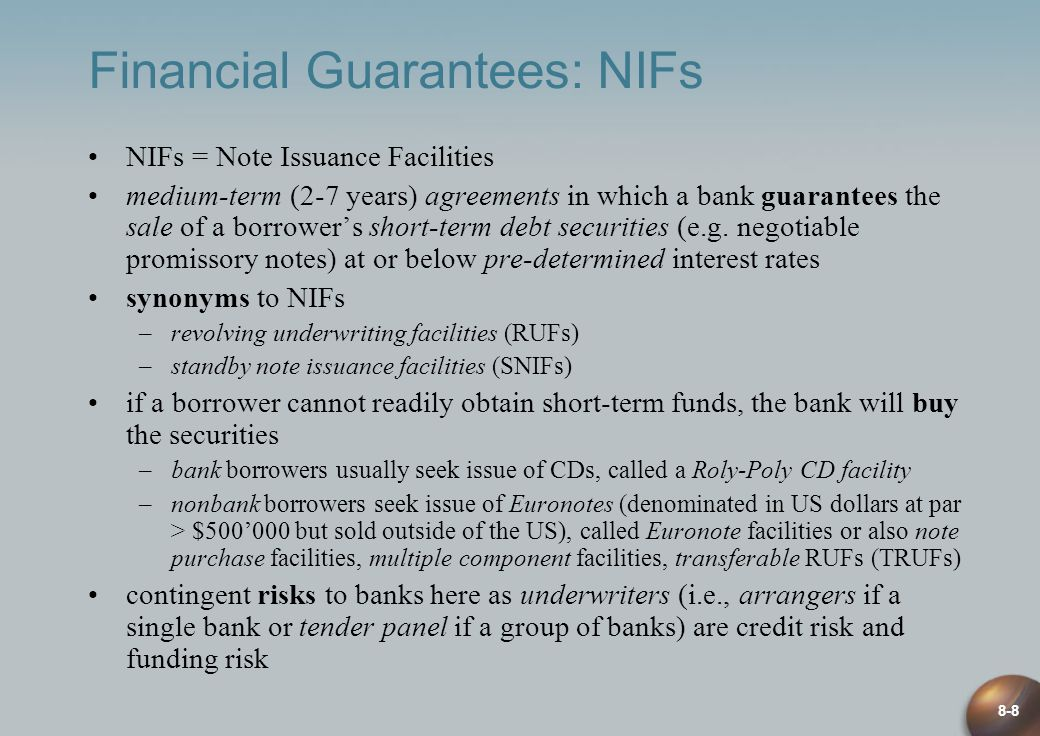 Financial Guarantees: NIFs