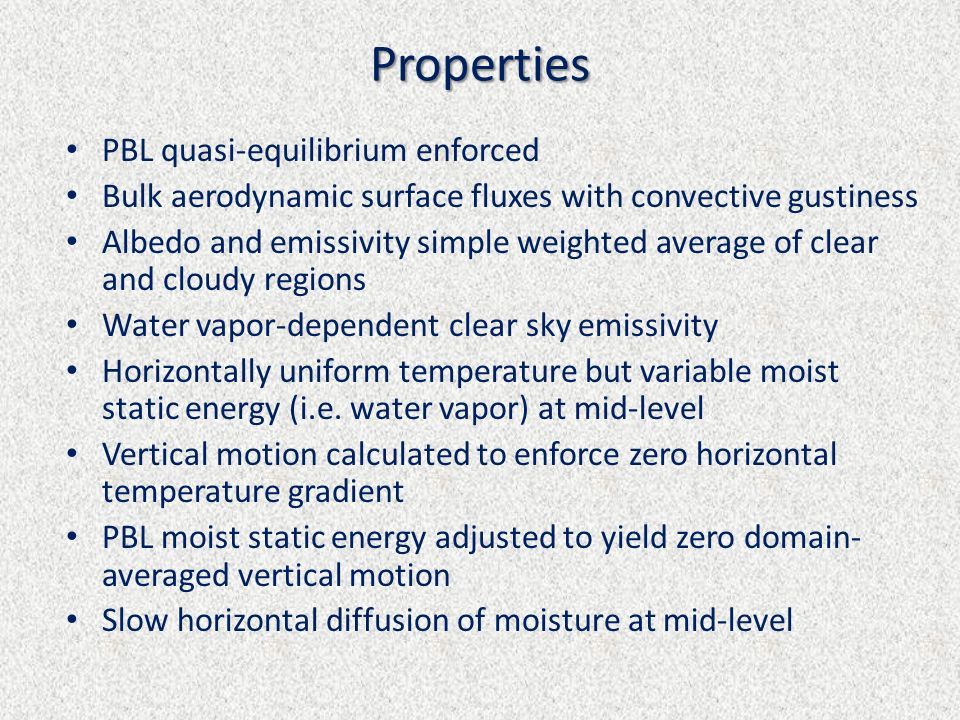Properties PBL quasi-equilibrium enforced