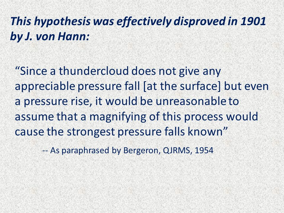 This hypothesis was effectively disproved in 1901 by J. von Hann: