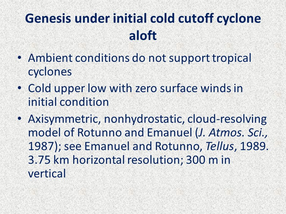 Genesis under initial cold cutoff cyclone aloft