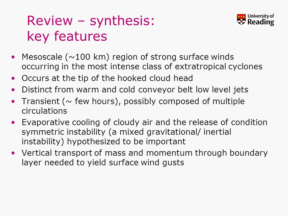 Review – synthesis: key features