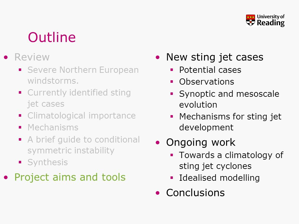 Outline Review Project aims and tools New sting jet cases Ongoing work