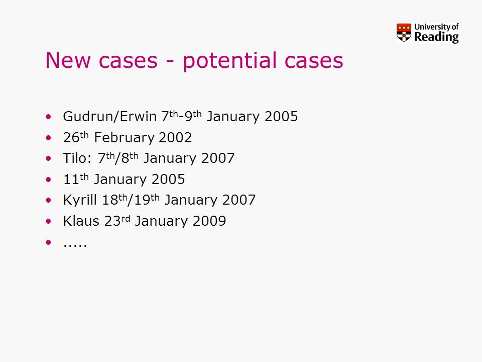 New cases - potential cases