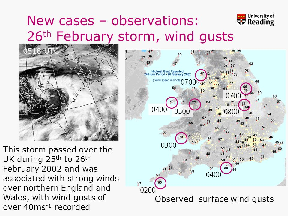 New cases – observations: 26th February storm, wind gusts